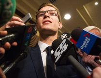 19-year-old Progressive Conservative candidate Sam Oosterhoff speaks to members of the media following his victory in the byelection in Niagara-West Glanbrook November 17, 2016. (THE CANADIAN PRESS/Aaron Lynett)