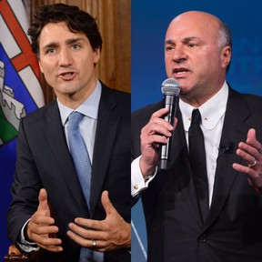 Prime Minister Justin Trudeau, left, and Kevin O'Leary. (Canadian Press and Postmedia Network files)