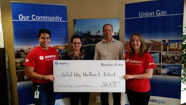 Union Gas employees and retirees showed their support for United Way Sudbury and Nipissing Districts by donating $32,475 in 2016. Supplied photo