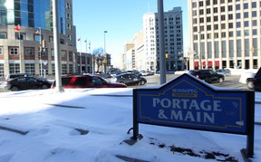 Portage and Main could be reopened to pedestrians relatively soon, Mayor Brian Bowman said Wednesday. (KEVIN KING/WINNIPEG SUN FILE PHOTO)