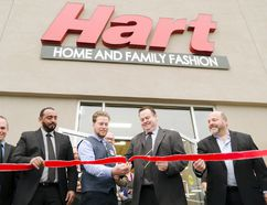 Goderich mayor Kevin Morrison, second from the right, helps the store manager David Mackechnie cut the ribbon during the grand opening ceremony for Hart Stores' new Goderich location. Pictured from left, Gerry Van Hurt, North Bay store manager; Samir Chougui, Maniwaki, Quebec, store manager; and John Pinkerton, far left, western regional sales and operational manager. (Darryl Coote/The Goderich Signal Star)