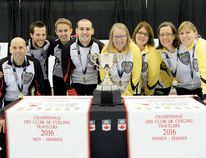 Manitoba, skipped by Riverton's Tracy Andries, won the women's event of the 2016 Travelers Curling Club Championship in Kelowna, B.C. Nov. 26. In yellow, left to right: Andries, third Crystal Kennedy, second Diane Christensen, lead April Klassen. (Curling Canada)