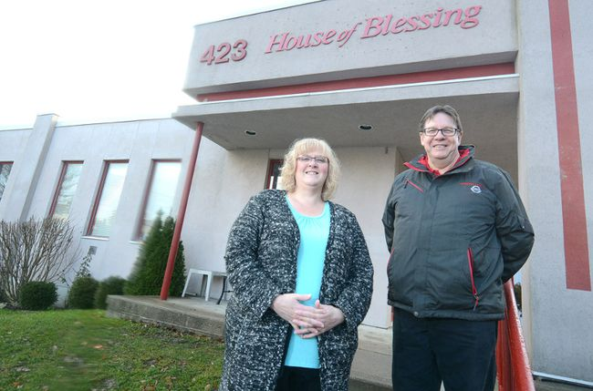 Stratford House of Blessing's Theresa McMurray and A Child's Smile founder John Gray are shown Wednesday. (SCOTT WISHART, Beacon Herald)