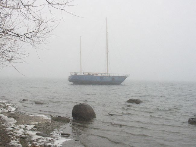 A mystery boat, anchored in a bay just off of Moulinette Island, on Wednesday, Nov. 30, 2016 in Long Sault, Ont. Todd Hambleton/Cornwall Standard-Freeholder/Postmedia Network