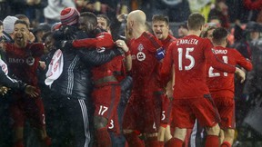 Toronto FC celebrate a second-half goal against the Montreal Impact during the MLS Conference Finals, Game 2 at BMO field in Toronto on Wednesday November 30, 2016. (Dave Abel/Toronto Sun/Postmedia Network)