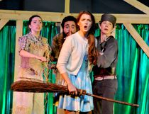 Dorothy (played by Morgyn Davies, centre) confronts the Wizard of Oz in the St. Lawrence College production of that play, while, from left, the Scarecrow (Caitlyn Acheson) the Cowardly Lion (Ron Gonzales) and the Tin Man (Diaz Das Gupta) react during a dress rehearsal on Thursday in Brockville. (RONALD ZAJAC/The Recorder and Times)