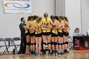 The Memorial Marauders senior girls volleyball team was unranked at the beginning of the season, then entered provincials at the 10th seed and finished the year in fifth place. - Photo supplied
