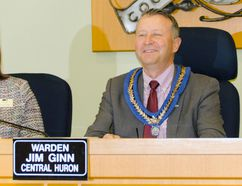 Central Huron mayor and Huron County warden Jim Ginn sits at the head of council for the first time since being elected to helm the county on Nov. 23. (Darryl Coote/The Goderich Signal Star)