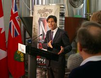 Eric Hoskins, Ontario minister of economic development, trade and employment, announces just under $1 million in job creation funding Thursday in St. Thomas at Railway City Brewing Company, Edward St., one of the recipients.