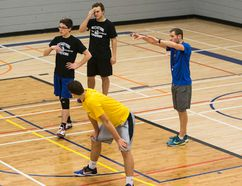 Selkirk Royals varsity boys' volleyball coach Jeff Scarcello gives instructions to his players during a practice, Dec. 1. (Brook Jones/Interlake Publishing/Postmedia Network)