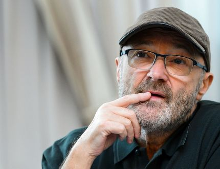 This file photo taken on May 30, 2016 shows Britain's rock star Phil Collins attending a press conference for The Little Dreams Foundation gala concert in LausanneF. ABRICE COFFRINI/AFP/Getty Images)