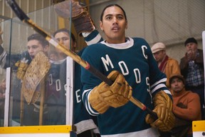 Virgil, the captain of the Moose, gets ready to hit the ice in a scene from Indian Horse. (Ian Watson/For The Sudbury Star/Postmedia Network)