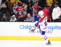 Paul Byron #41 of the Montreal Canadiens celebrates his goal during the overtime sudden death shootout period to give the Canadiens a 5-4 win over the Los Angeles Kings at Staples Center on December 4, 2016 in Los Angeles, California. (Photo by Harry How/