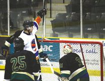 Islanders forward Zack Waldvogel celebrating following his second period goal this afternoon against Warren at the PCU Centre in Portage. (BRIAN OLVIER/THE GRAPHIC/ POSTMEDIA NETWORK)
