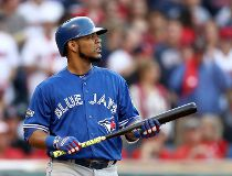 Edwin Encarnacion #10 of the Toronto Blue Jays looks on in the third inning against the Cleveland Indians during game two of the American League Championship Series at Progressive Field on October 15, 2016 in Cleveland, Ohio. (Photo by Elsa/Getty Images)