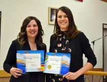 Deb Courvoisier (left) and Dalene Pilat hold their awards for Volunteer of the Year and Corporate Volunteer of the Year, respectively, at the 2016 Volunteer Appreciation Breakfast, hosted by the Grande Prairie Volunteer Services Bureau at the Golden Age Centre on Monday December 5 in Grande Prairie. Pilat accepted the award on behalf of Unique Home Concepts. (Kevin Hampson/Grande Prairie Daily Herald-Tribune)