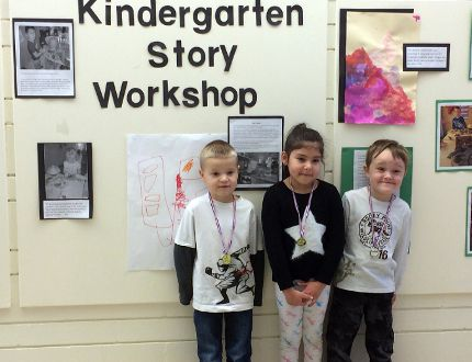 Kindergarten student Benjamin Shouldice, Grade 1 student Sienna Prince and kindergarten student Jackson Hayse were three of the students featured in a video about their storytelling workshop as part of the Innovative Learning series. The video premiered at Pope John Paul II School on Monday, Dec. 5. Kathleen Charlebois/Daily Miner and News