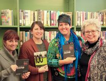 Tannys Laughren, left, and Carol Stos, right, of LEAF Sudbury, make a presentation to Jessica Watts, second left, of the Greater Sudbury Public Library, and Const. Katherine Hucal, of the Greater Sudbury Police. Supplied photo