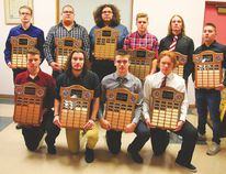 The Trojans football program recognized members of its team Dec. 5 at a year end awards banquet. Trojan major award winners: back row (l-r) Eric McCutchin, Isaiah Pangman, Lucas Francis, Branden Friesen, Gage Foster and Cam Travere. Front row (l-r) Connor Green, Tyler Fedak, Brice Verwey and Tyler Morris. (Photo courtesy of Mike Lukyn)