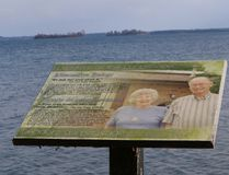 One of close to a dozen 'Leaders in the Landscape' vignettes at the waterfront at Thousand Islands National Park, with the famous Singer castle in the background on Wednesday at Mallorytown Landing. Thousand Islands-Rideau Lakes Senator Bob Runciman says the signs are inappropriate for a national park. (DARCY CHEEK/The Recorder and Times)