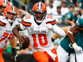 In this Sept. 11, 2016, file photo, Cleveland Browns quarterback Robert Griffin III runs the ball against the Philadelphia Eagles in Philadelphia. (AP Photo/Winslow Townson, File)