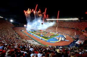 Commonwealth Games Canada points to a strategy that would make use of existing facilities like Commonwealth Stadium, shown here at the opening ceremonies of the 2001 World Championships in Athletics, as one factor making a bid by Edmonton attractive. (File)