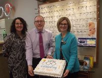 Carey Optical in Port Elgin celebrated 10 years on Dec. 7. Pictured are Caroline Young – administrator, Paul Carey – owner/optician and Lorie Carey – owner/optician. (Submitted photo)