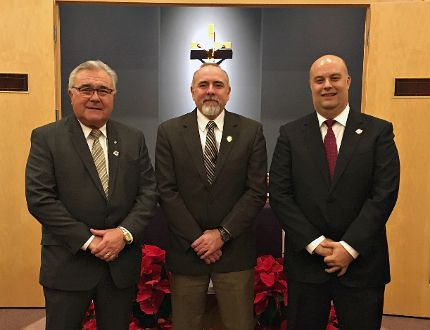 Director of education Chris Roehrig (centre) is flanked by Rick Petrella (right), who has been acclaimed for a third consecutive term as the chair of the Brant Haldimand Norfolk Catholic District School Board, and Dan Dignard, who has been acclaimed as the board's vice-chair. (Submitted Photo)
