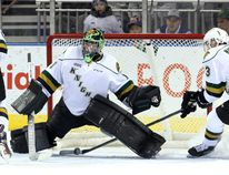 London Knights defenceman Nicolas Mattinen stops a rolling puck from crossing the goal-line. Knights goaltender Tyler Parsons lost sight of the rubber after it hit a post during an Ontario Hockey League game against the Mississauga Steelheads at Budweiser Gardens on Friday. The Steelheads won 7-3. (CRAIG GLOVER, The London Free Press)