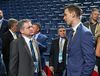 Tim Bernhardt and John Chayka of the Arizona Coyotes attend Round 1 of the 2016 NHL Draft on June 24, 2016 in Buffalo. (Bruce Bennett/Getty Images)
