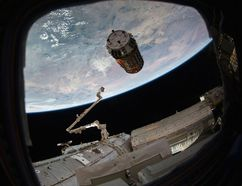 This photo provided by NASA TV shows a Japanese cargo ship before it arrives with Christmas gifts to the International Space Station on Tuesday, Dec. 13, 2016. The capsule — called Kounotori, or white stork — contains nearly five tons of food, water, batteries and other supplies. NASA said there also are Christmas presents for the two Americans, three Russians and one Frenchman on board. (NASA TV via AP)