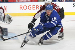 Mitch Marner of the Toronto Maple Leafs skates against the Colorado Avalanche during an NHL game at the Air Canada Centre on December 11, 2016 in Toronto. The Avalanche defeated the Maple Leafs 3-1. (Claus Andersen/Getty Images)