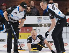 Team Jacobs members (left to right) Ryan Harnden, Brad Jacobs and E.J. Harnden during Grand Slam of Curling competition.