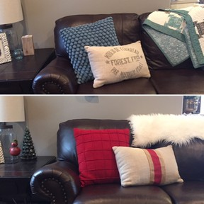Easly transform your living room into the holiday mood by changing out throw pillows with red covers or adding festive coloured ribbons to plain white throw pillows.