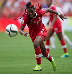 Canada's Kadeisha Buchanan chases down the ball during first half FIFA Women's World Cup quarter-final soccer action against England in Vancouver, B.C., on Saturday June 27, 2015. Canadian international Kadeisha Buchanan is one of four nominees for the Honda Sport Award for Women's Soccer. THE CANADIAN PRESS/Darryl Dyck