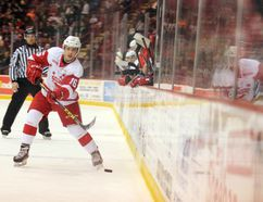 Soo Greyhounds centre Morgan Frost fires the puck into the Windsor Spitfires zone during OHL action Wednesday, Nov. 30, 2016 at Essar Centre in Sault Ste. Marie, Ont. (JEFFREY OUGLER, Postmedia Network)