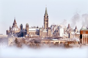 Parliament Hill is surrounded by ice fog in winter.