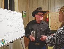 Representatives from MPE Engineering Ltd., and the MD were available to answer questions about the water/wastewater project in Beaver Mines at the open house at the Coalfields School last Thursday. | Caitlin Clow photo/Pincher Creek Echo
