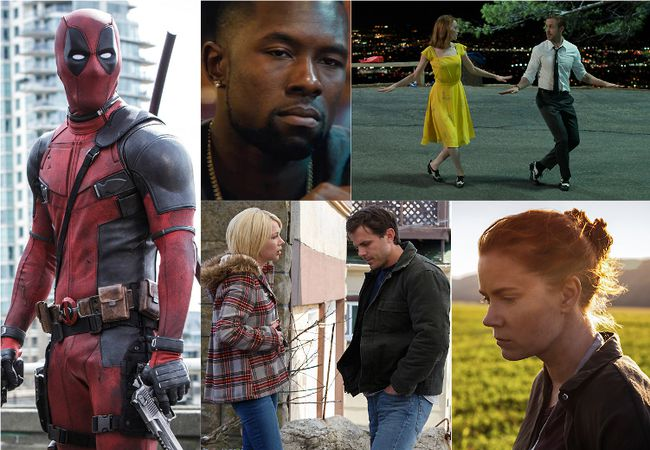 """Clockwise from left: Ryan Reynolds as Deadpool; Trevante Rhodes in """"Moonlight""""; Emma Stone and Ryan Gosling in """"La La Land""""; Amy Adams in """"Arrival"""" and Casey Affleck and Michelle Williams in """"Manchester by the Sea"""". (HANDOUT)"""