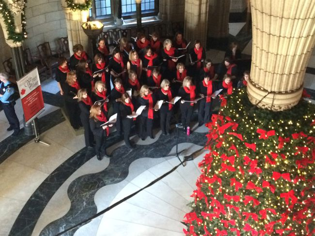 <p>In this file photo from December 2014, members of the Canadian Military Wives Choir performed classics as Silent Night in the Centre Block atrium at Parliament Hill.</p><p>