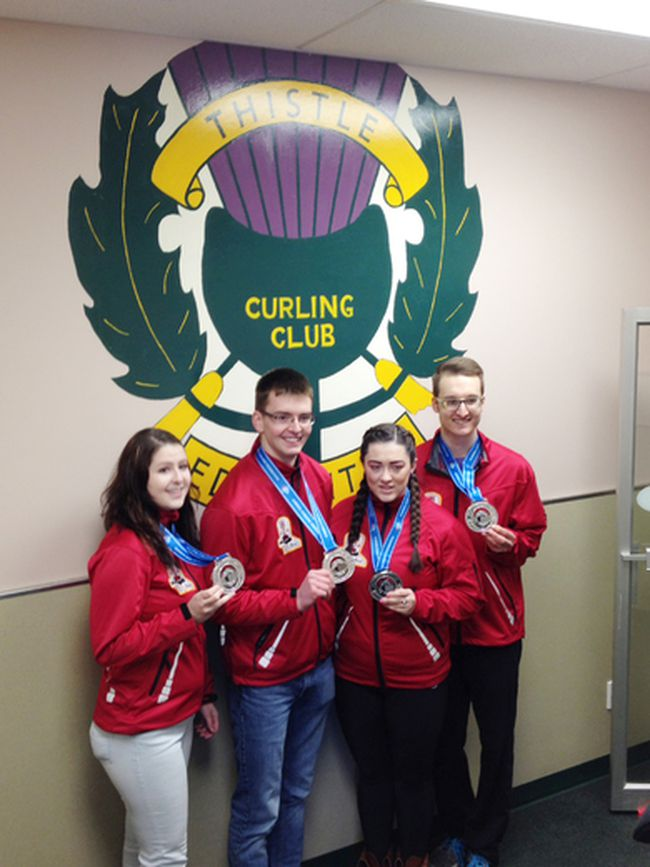 Airdrie Curling Club�s Dacey Brown rink, which includes third Mark Taylor, second Megan Moffat and lead Connor Lenton, earned silver in mixed curling provincials at the Thistle Curling Club in Edmonton, March 30 to April 3, 2016. \Handout/Airdrie Echo/Postmedia Network