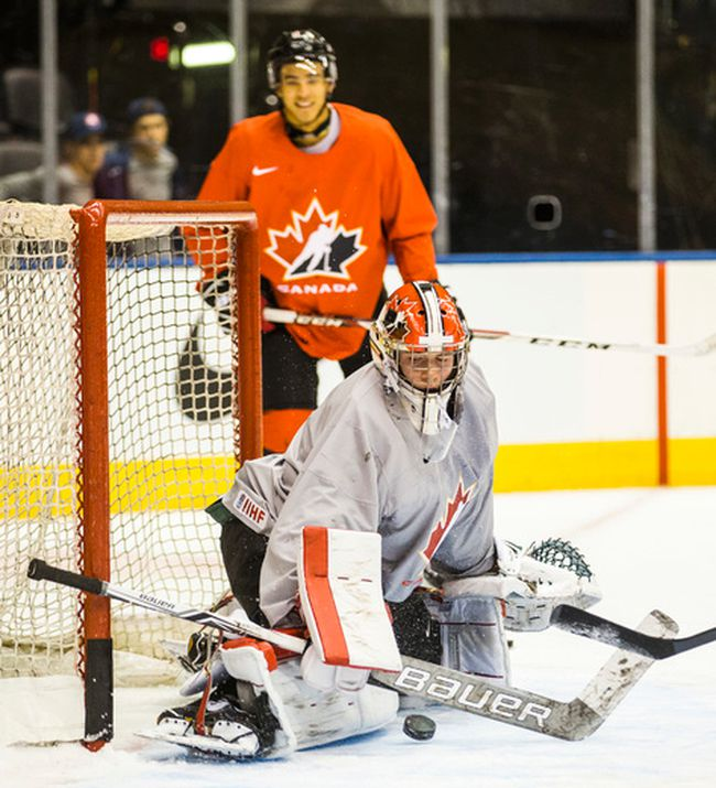 Canada's National Junior Team goalie Carter Hart during a 2017 World Junior Championship practice at the Air Canada Centre in Toronto, Ont.  on Sunday Dec. 25, 2016.  (Ernest Doroszuk/Toronto Sun/Postmedia Network)