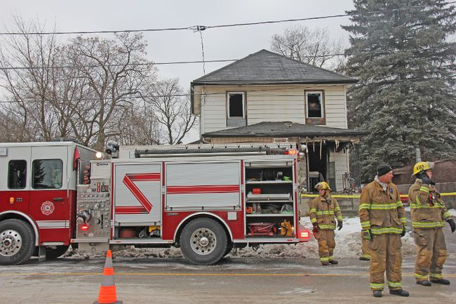 Strathroy-Caradoc fire crews at the scene of a fire on Caradoc Street on Wednesday, Dec. 28. JONATHAN JUHA/ STRATHROY AGE DISPATCH/ POSTMEDIA NETWORK