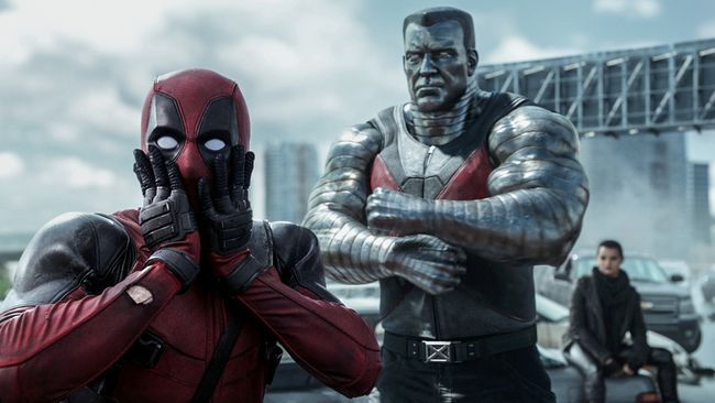 "Deadpool (Ryan Reynolds) reacts to Colossus' (voiced by Stefan Kapicic) threats in ""Deadpool."" (Courtesy Twentieth Century Fox)"