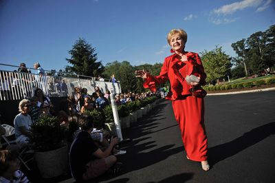 In this July 2, 2010, file photo, actress Debbie Reynolds arrives at The Greenbrier for the gala opening of the Casino Club in White Sulphur Springs, W.Va.(AP Photo/Jeff Gentner, File)