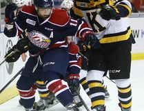 "Kingston Frontenacs defenceman Stephen Desrocher, right, says the Frontenacs aren't getting ""the credit we deserve."""