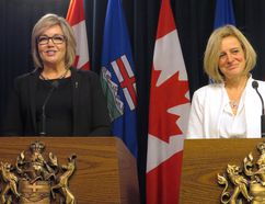 Sandra Jansen, left, and Premier Rachel Notley announce jointly that Jansen is crossing the floor from the Progressive Conservatives to join Notley's NDP at the legislature in Edmonton on Thursday, November 17, 2016. Jansen, a Calgary MLA, pulled out of the PC party's leadership race earlier this month, citing harassment over her progressive views. THE CANADIAN PRESS/Dean Bennett