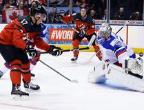 Canada forward Tyson Jost makes a move on Russia goaltender Ilya Samsonov and scores a goal during the world junior hockey championship in Toronto on Dec. 26, 2016. (Dave Abel/Toronto Sun)