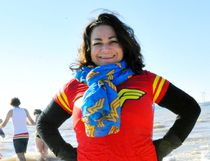 'Wonder Woman' Erin Denton was able to cross an item off her bucket list on Jan. 1, 2017. The Brantford resident was a first-time participant in the Port Dover Polar Bear Dip on New Year's Day. JACOB ROBINSON/Simcoe Reformer