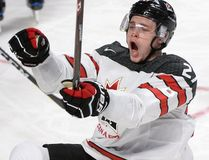 Team Canada forward Mitchell Stephens celebrates after scoring against the Czech Republic during quarterfinal IIHF World Junior Championship action on Jan. 2, 2017. (THE CANADIAN PRESS/Paul Chiasson)